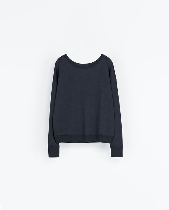 Special Sweatshirt With Detailing - neckline: round neck; pattern: plain; style: sweat top; predominant colour: navy; occasions: casual; length: standard; fibres: cotton - 100%; fit: straight cut; sleeve length: long sleeve; sleeve style: standard; pattern type: fabric; texture group: jersey - stretchy/drapey; trends: broody brights; season: a/w 2013