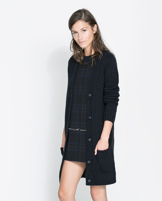 Long Cardigan - neckline: plunge; pattern: plain; predominant colour: navy; occasions: casual, work; style: standard; fibres: acrylic - mix; fit: loose; length: mid thigh; sleeve length: long sleeve; sleeve style: standard; texture group: knits/crochet; pattern type: knitted - fine stitch; trends: broody brights; season: a/w 2013