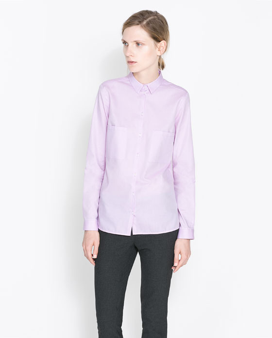 Twill Shirt - neckline: shirt collar/peter pan/zip with opening; pattern: plain; style: shirt; predominant colour: lilac; occasions: casual, work; length: standard; fibres: cotton - 100%; fit: straight cut; sleeve length: long sleeve; sleeve style: standard; texture group: cotton feel fabrics; pattern type: fabric; season: a/w 2013