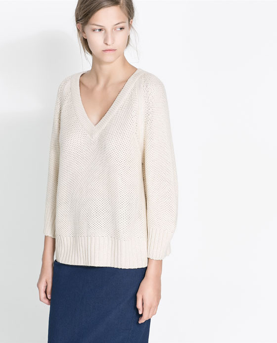 Wide Knit Jersey - neckline: low v-neck; pattern: plain; length: below the bottom; style: standard; predominant colour: stone; occasions: casual, work; fibres: acrylic - 100%; fit: loose; sleeve length: 3/4 length; sleeve style: standard; texture group: knits/crochet; pattern type: knitted - fine stitch; season: a/w 2013