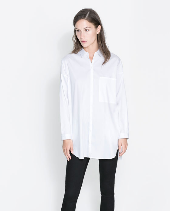 Oversized Shirt With Pockets - neckline: shirt collar/peter pan/zip with opening; pattern: plain; length: below the bottom; style: shirt; bust detail: pocket detail at bust; predominant colour: white; occasions: casual, work; fibres: cotton - stretch; fit: loose; sleeve length: long sleeve; sleeve style: standard; texture group: cotton feel fabrics; pattern type: fabric; trends: oversized structure, masculine feminine; season: a/w 2013