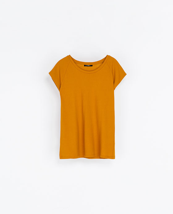 Cotton T Shirt - neckline: round neck; sleeve style: capped; pattern: plain; style: t-shirt; predominant colour: mustard; occasions: casual; length: standard; fibres: cotton - 100%; fit: straight cut; sleeve length: short sleeve; pattern type: fabric; texture group: jersey - stretchy/drapey; season: a/w 2013