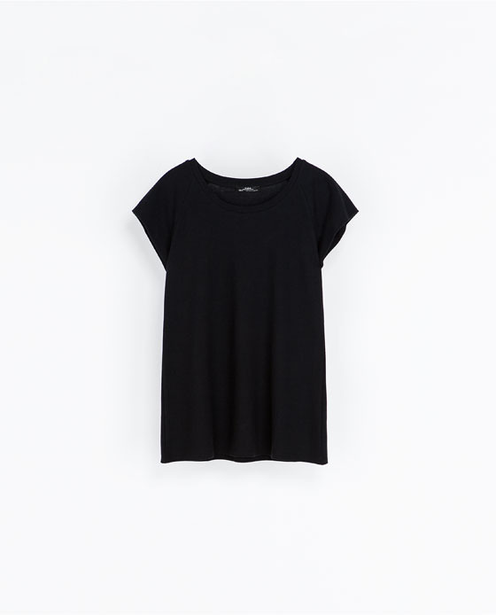 Cotton T Shirt - neckline: round neck; sleeve style: capped; pattern: plain; style: t-shirt; predominant colour: black; occasions: casual; length: standard; fibres: cotton - 100%; fit: loose; sleeve length: short sleeve; pattern type: fabric; texture group: jersey - stretchy/drapey; season: a/w 2013