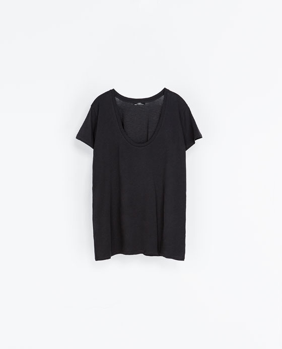 Short Sleeve T Shirt - pattern: plain; style: t-shirt; predominant colour: black; occasions: casual, holiday; length: standard; neckline: scoop; fibres: cotton - 100%; fit: loose; sleeve length: short sleeve; sleeve style: standard; pattern type: fabric; texture group: jersey - stretchy/drapey; season: a/w 2013