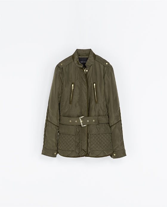 Quilted Jacket With Piping - pattern: plain; length: below the bottom; style: quilted; collar: high neck; predominant colour: khaki; occasions: casual; fit: tailored/fitted; fibres: polyester/polyamide - 100%; waist detail: belted waist/tie at waist/drawstring; shoulder detail: discreet epaulette; sleeve length: long sleeve; sleeve style: standard; texture group: technical outdoor fabrics; collar break: high; season: a/w 2013