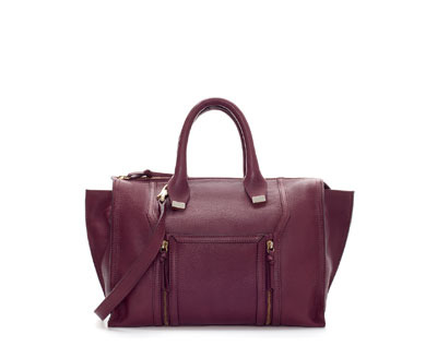 Leather City Bag With Metal Detailing - predominant colour: burgundy; occasions: casual, work; type of pattern: standard; style: tote; length: handle; size: standard; material: leather; embellishment: zips; pattern: plain; finish: plain; trends: broody brights; season: a/w 2013
