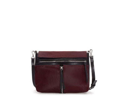 Combination Fur Messenger Bag - predominant colour: burgundy; occasions: casual, work; type of pattern: standard; style: messenger; length: across body/long; size: standard; material: leather; embellishment: zips; finish: plain; pattern: colourblock; trends: broody brights; season: a/w 2013