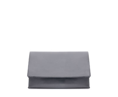 Leather Clutch - predominant colour: mid grey; occasions: casual, evening, occasion; type of pattern: standard; style: clutch; length: hand carry; size: standard; material: leather; pattern: plain; finish: plain; season: a/w 2013