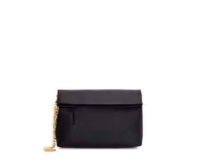 Clutch Bag With Chain - secondary colour: gold; predominant colour: black; occasions: casual, evening, occasion; style: clutch; length: hand carry; size: standard; material: fabric; pattern: plain; finish: plain; embellishment: chain/metal; season: a/w 2013