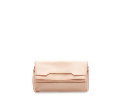 Leather Clutch With Foldover Flap - predominant colour: nude; occasions: casual, evening, occasion; type of pattern: standard; style: clutch; length: hand carry; size: standard; material: leather; pattern: plain; finish: plain; season: a/w 2013