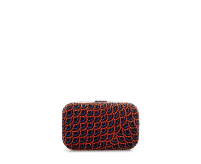 Sparkly MinaudiÉre - predominant colour: true red; secondary colour: navy; occasions: evening, occasion; type of pattern: standard; style: clutch; length: hand carry; size: standard; material: leather; finish: plain; pattern: patterned/print; embellishment: jewels/stone; season: a/w 2013