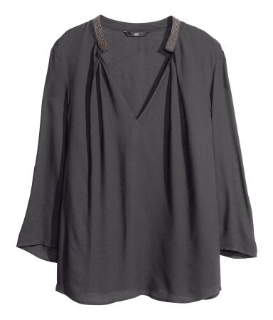 Blouse With Beaded Embroidery - neckline: low v-neck; pattern: plain; predominant colour: charcoal; occasions: casual, evening, work; length: standard; style: top; fibres: viscose/rayon - 100%; fit: loose; sleeve length: 3/4 length; sleeve style: standard; pattern type: fabric; texture group: other - light to midweight; season: a/w 2013