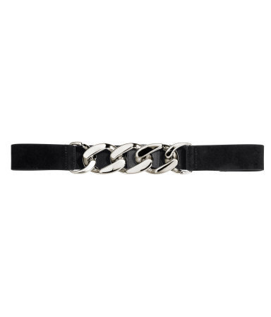Belt With Chain Detail - secondary colour: silver; predominant colour: black; occasions: casual, evening, occasion; type of pattern: standard; style: chainlink; size: skinny; worn on: waist; material: suede; pattern: plain; finish: metallic; embellishment: chain/metal; season: a/w 2013