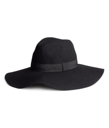 Wool Hat - predominant colour: black; occasions: casual; type of pattern: standard; style: wide brimmed; size: standard; material: fabric; pattern: plain; trends: 1940's hitchcock heroines; season: a/w 2013