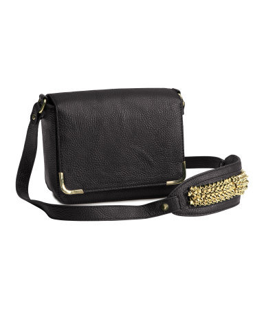 Shoulder Bag - secondary colour: gold; predominant colour: black; occasions: casual, creative work; type of pattern: standard; style: shoulder; length: across body/long; size: standard; material: faux leather; embellishment: studs; pattern: plain; finish: plain; season: a/w 2013