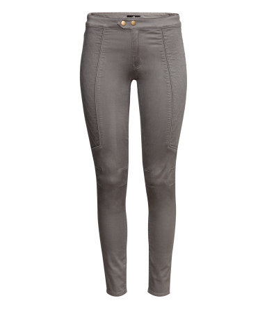 Stretch Trousers - length: standard; pattern: plain; pocket detail: large back pockets; waist: mid/regular rise; predominant colour: mid grey; occasions: casual, evening, work; fibres: cotton - stretch; fit: skinny/tight leg; pattern type: fabric; texture group: woven light midweight; style: standard; season: a/w 2013