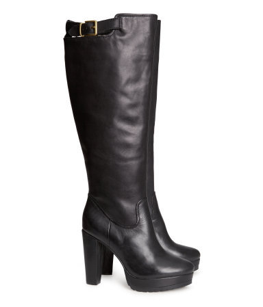 Leather Boots - predominant colour: black; occasions: casual, work; material: leather; heel height: high; embellishment: buckles; heel: block; toe: round toe; boot length: knee; style: standard; finish: plain; pattern: plain; shoe detail: platform; season: a/w 2013