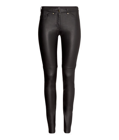 Imitation Leather Trousers - length: standard; pattern: plain; pocket detail: large back pockets, pockets at the sides, traditional 5 pocket; waist: mid/regular rise; predominant colour: black; occasions: casual, evening; fibres: polyester/polyamide - 100%; texture group: leather; fit: skinny/tight leg; pattern type: fabric; style: standard; trends: gorgeous grunge; season: a/w 2013