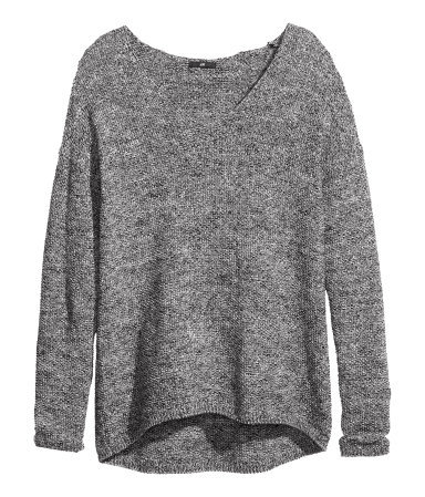 Knitted Jumper - neckline: low v-neck; pattern: plain; length: below the bottom; style: standard; predominant colour: charcoal; occasions: casual, work; fibres: acrylic - 100%; fit: loose; back detail: longer hem at back than at front; sleeve length: long sleeve; sleeve style: standard; texture group: knits/crochet; pattern type: knitted - other; season: a/w 2013