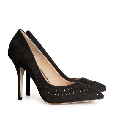 Court Shoes With Studs - predominant colour: black; secondary colour: black; occasions: evening, work, occasion; material: faux leather; heel height: high; embellishment: studs; heel: stiletto; toe: pointed toe; style: courts; finish: plain; pattern: plain; trends: excess embellishment, broody brights; season: a/w 2013