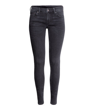 Skinny Low Jeans - style: skinny leg; length: standard; pattern: plain; waist: low rise; pocket detail: traditional 5 pocket; predominant colour: black; occasions: casual; fibres: cotton - stretch; jeans detail: dark wash, washed/faded; texture group: denim; pattern type: fabric; season: a/w 2013
