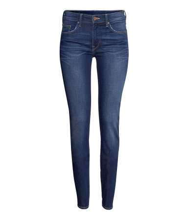 Skinny Low Jeans - style: skinny leg; length: standard; pattern: plain; waist: low rise; pocket detail: traditional 5 pocket; predominant colour: denim; occasions: casual, evening; fibres: cotton - stretch; jeans detail: whiskering, shading down centre of thigh, washed/faded; texture group: denim; pattern type: fabric; season: a/w 2013