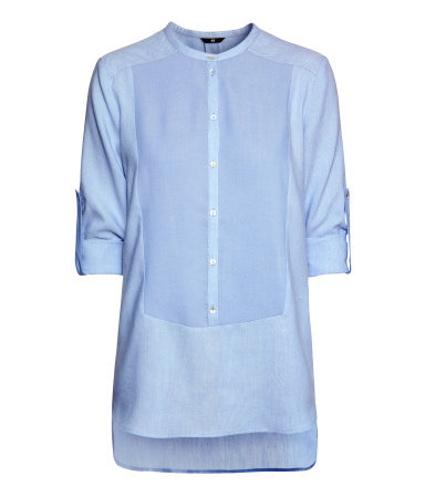 Blouse In A Textured Weave - pattern: plain; length: below the bottom; predominant colour: pale blue; occasions: casual, work; style: top; fibres: cotton - mix; fit: straight cut; neckline: crew; back detail: longer hem at back than at front; sleeve length: long sleeve; sleeve style: standard; texture group: cotton feel fabrics; pattern type: fabric; season: a/w 2013