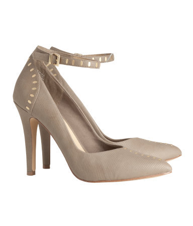 Court Shoes With Rivets - predominant colour: stone; secondary colour: gold; occasions: evening, work, occasion; material: faux leather; heel height: high; embellishment: studs; ankle detail: ankle strap; heel: standard; toe: pointed toe; style: courts; finish: plain; pattern: plain; trends: excess embellishment; season: a/w 2013
