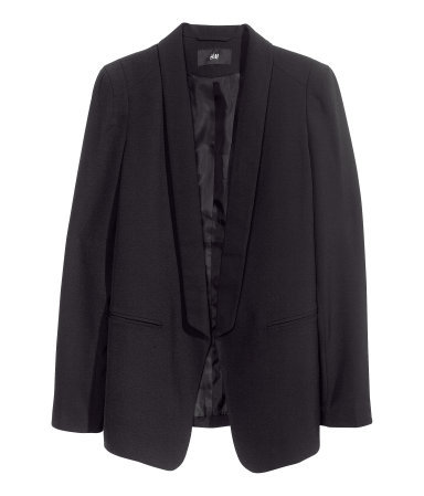 Dinner Jacket - pattern: plain; style: single breasted blazer; collar: shawl/waterfall; length: below the bottom; predominant colour: black; occasions: casual, evening, work, occasion; fit: tailored/fitted; fibres: polyester/polyamide - stretch; sleeve length: long sleeve; sleeve style: standard; collar break: low/open; pattern type: fabric; texture group: woven light midweight; season: a/w 2013