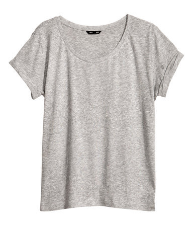 Top In Slub Jersey - neckline: round neck; pattern: plain; style: t-shirt; predominant colour: light grey; occasions: casual; length: standard; fibres: cotton - mix; fit: loose; sleeve length: short sleeve; sleeve style: standard; pattern type: fabric; texture group: jersey - stretchy/drapey; season: a/w 2013