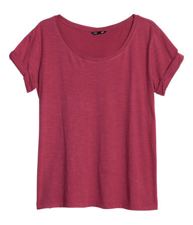 Top In Slub Jersey - neckline: round neck; pattern: plain; style: t-shirt; predominant colour: burgundy; occasions: casual, holiday; length: standard; fibres: cotton - mix; fit: loose; sleeve length: short sleeve; sleeve style: standard; pattern type: fabric; texture group: jersey - stretchy/drapey; trends: broody brights; season: a/w 2013