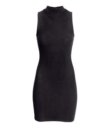 Jersey Dress - length: mini; fit: tight; pattern: plain; sleeve style: sleeveless; neckline: high neck; style: bodycon; predominant colour: black; occasions: evening, holiday; fibres: cotton - 100%; sleeve length: sleeveless; texture group: jersey - clingy; pattern type: fabric; trends: gorgeous grunge; season: a/w 2013