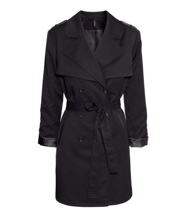 Trenchcoat - pattern: plain; style: double breasted; collar: standard lapel/rever collar; length: mid thigh; predominant colour: black; occasions: casual, evening, work; fit: tailored/fitted; fibres: polyester/polyamide - stretch; waist detail: belted waist/tie at waist/drawstring; shoulder detail: discreet epaulette; back detail: back vent/flap at back; sleeve length: 3/4 length; sleeve style: standard; texture group: cotton feel fabrics; collar break: medium; pattern type: fabric; season: a/w 2013; hip detail: side pockets at hip