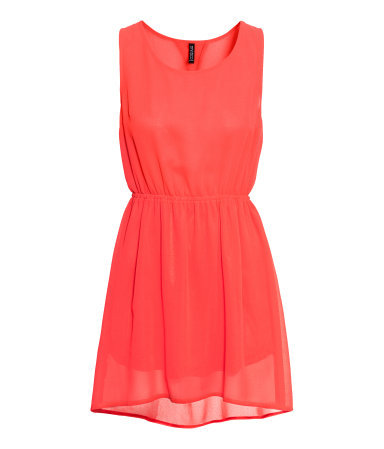 Sleeveless Dress - style: tea dress; length: mid thigh; neckline: round neck; fit: fitted at waist; pattern: plain; sleeve style: sleeveless; waist detail: elasticated waist; predominant colour: coral; occasions: casual, evening, occasion, holiday; fibres: polyester/polyamide - 100%; back detail: longer hem at back than at front; sleeve length: sleeveless; texture group: sheer fabrics/chiffon/organza etc.; pattern type: fabric; season: a/w 2013