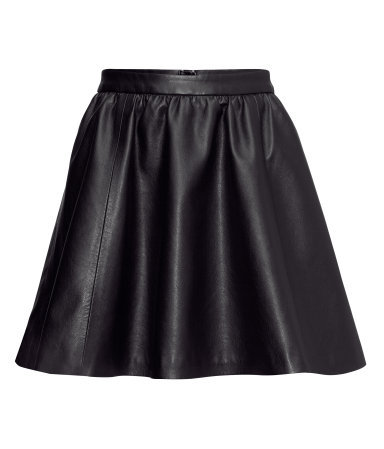 Imitation Leather Skirt - length: mid thigh; pattern: plain; style: full/prom skirt; fit: loose/voluminous; waist: high rise; predominant colour: black; occasions: casual, evening, work, occasion; hip detail: subtle/flattering hip detail; texture group: leather; pattern type: fabric; fibres: viscose/rayon - mix; trends: gorgeous grunge, gothic romance; season: a/w 2013