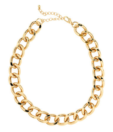 Chain Necklace - predominant colour: gold; occasions: casual, evening, work, occasion; length: short; size: large/oversized; material: chain/metal; finish: metallic; season: a/w 2013; style: chain (no pendant)