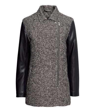 Biker Jacket - style: biker; length: below the bottom; fit: slim fit; pattern: herringbone/tweed; predominant colour: charcoal; secondary colour: black; occasions: casual; fibres: polyester/polyamide - mix; collar: shirt collar/peter pan/zip with opening; sleeve length: long sleeve; sleeve style: standard; collar break: high; pattern type: fabric; texture group: tweed - light/midweight; season: a/w 2013