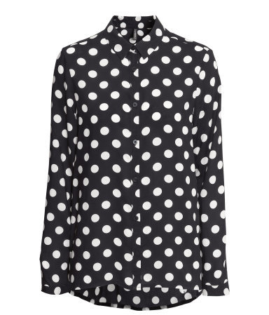 Viscose Blouse - neckline: shirt collar/peter pan/zip with opening; length: below the bottom; style: blouse; pattern: polka dot; secondary colour: white; predominant colour: black; occasions: casual, evening, work; fibres: viscose/rayon - 100%; fit: straight cut; sleeve length: long sleeve; sleeve style: standard; texture group: sheer fabrics/chiffon/organza etc.; pattern type: fabric; pattern size: standard; season: a/w 2013; trends: monochrome