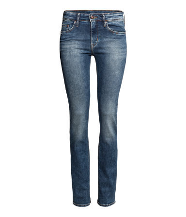 Straight Regular Jeans - length: standard; pattern: plain; pocket detail: traditional 5 pocket; style: slim leg; waist: mid/regular rise; predominant colour: denim; occasions: casual, evening; fibres: cotton - stretch; jeans detail: whiskering, shading down centre of thigh, washed/faded; texture group: denim; pattern type: fabric; season: a/w 2013