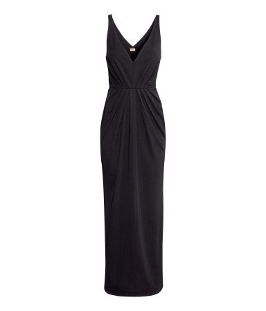 Jersey Dress - neckline: low v-neck; pattern: plain; sleeve style: sleeveless; style: maxi dress; waist detail: flattering waist detail; bust detail: subtle bust detail; predominant colour: black; occasions: casual, evening, occasion, holiday; length: floor length; fit: body skimming; fibres: polyester/polyamide - 100%; sleeve length: sleeveless; pattern type: fabric; texture group: jersey - stretchy/drapey; trends: 1940's hitchcock heroines; season: a/w 2013