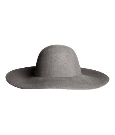 Wool Hat - predominant colour: mid grey; occasions: casual; type of pattern: standard; style: wide brimmed; size: large; material: felt; pattern: plain; trends: 1940's hitchcock heroines; season: a/w 2013