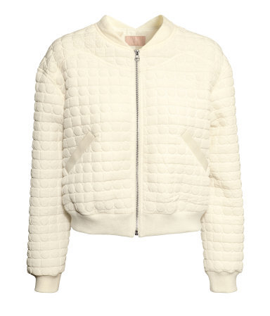 Quilted Bomber Jacket - pattern: plain; collar: round collar/collarless; style: bomber; predominant colour: ivory/cream; occasions: casual; length: standard; fit: straight cut (boxy); fibres: polyester/polyamide - 100%; sleeve length: long sleeve; sleeve style: standard; collar break: high; pattern type: fabric; texture group: jersey - stretchy/drapey; embellishment: quilted; season: a/w 2013