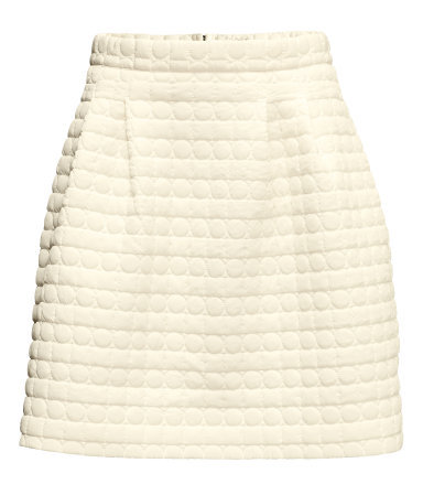 Quilted Skirt - length: mid thigh; pattern: plain; fit: loose/voluminous; waist: high rise; predominant colour: ivory/cream; occasions: casual, evening, work; style: fit & flare; fibres: polyester/polyamide - 100%; pattern type: fabric; texture group: woven light midweight; embellishment: quilted; season: a/w 2013; pattern size: light/subtle (bottom)