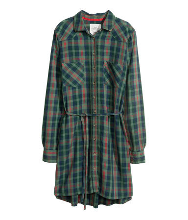 Shirt Dress - style: shirt; length: mid thigh; neckline: shirt collar/peter pan/zip with opening; fit: loose; pattern: checked/gingham; bust detail: pocket detail at bust; waist detail: belted waist/tie at waist/drawstring; secondary colour: true red; predominant colour: emerald green; occasions: casual, evening; fibres: viscose/rayon - 100%; sleeve length: long sleeve; sleeve style: standard; texture group: cotton feel fabrics; pattern type: fabric; pattern size: standard; trends: gorgeous grunge, gothic romance; season: a/w 2013