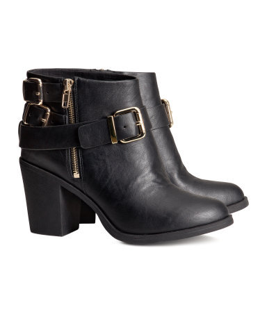 Ankle Boots - secondary colour: gold; predominant colour: black; occasions: casual, creative work; material: faux leather; heel height: mid; embellishment: buckles; heel: block; toe: round toe; boot length: ankle boot; style: standard; finish: plain; pattern: plain; season: a/w 2013