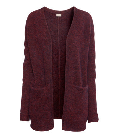 Mohair Cardigan - pattern: plain; length: below the bottom; hip detail: front pockets at hip; neckline: collarless open; predominant colour: burgundy; occasions: casual, work; style: standard; fibres: wool - stretch; fit: loose; sleeve length: long sleeve; sleeve style: standard; texture group: knits/crochet; pattern type: knitted - fine stitch; trends: gorgeous grunge, broody brights; season: a/w 2013