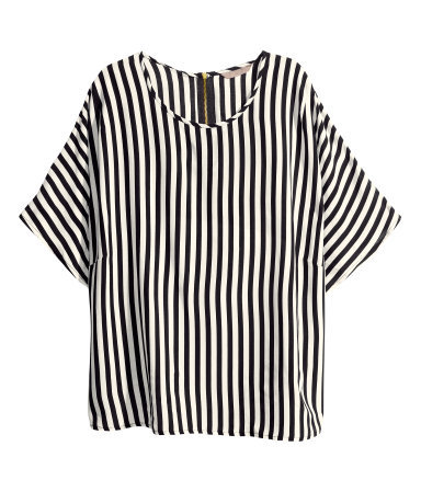 + Blouse - neckline: round neck; pattern: vertical stripes; secondary colour: ivory/cream; predominant colour: black; occasions: casual; length: standard; style: top; fibres: viscose/rayon - 100%; fit: loose; sleeve length: short sleeve; sleeve style: standard; texture group: sheer fabrics/chiffon/organza etc.; pattern type: fabric; pattern size: standard; season: a/w 2013; trends: monochrome