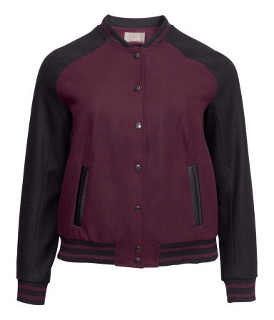 + Baseball Jacket - collar: round collar/collarless; style: bomber; predominant colour: burgundy; secondary colour: black; occasions: casual; length: standard; fit: straight cut (boxy); fibres: polyester/polyamide - mix; sleeve length: long sleeve; sleeve style: standard; collar break: high; pattern type: fabric; pattern: colourblock; texture group: woven light midweight; season: a/w 2013