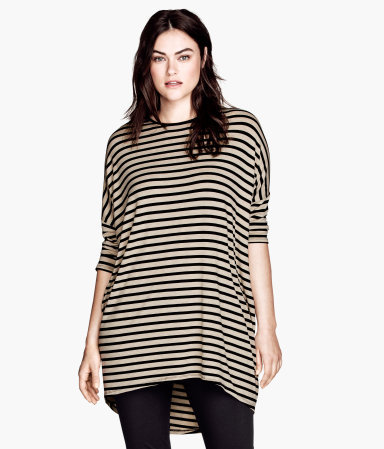 + Tunic - pattern: horizontal stripes; length: below the bottom; style: tunic; predominant colour: stone; secondary colour: black; occasions: casual, evening; fibres: viscose/rayon - stretch; fit: loose; neckline: crew; sleeve length: 3/4 length; sleeve style: standard; pattern type: fabric; texture group: jersey - stretchy/drapey; season: a/w 2013