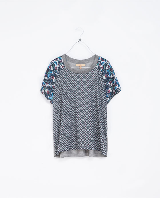 Combined Print T Shirt - neckline: round neck; style: t-shirt; back detail: contrast pattern/fabric at back; occasions: casual; length: standard; fibres: polyester/polyamide - mix; fit: loose; predominant colour: multicoloured; sleeve length: short sleeve; sleeve style: standard; pattern type: fabric; pattern size: standard; pattern: patterned/print; texture group: jersey - stretchy/drapey; trends: playful prints; season: a/w 2013; multicoloured: multicoloured
